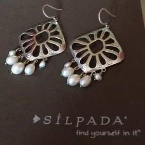 Silpada Cutout Pearl Dangle Chandelier Earrings